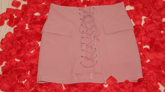 Dusty Pink Lace Up Skirt