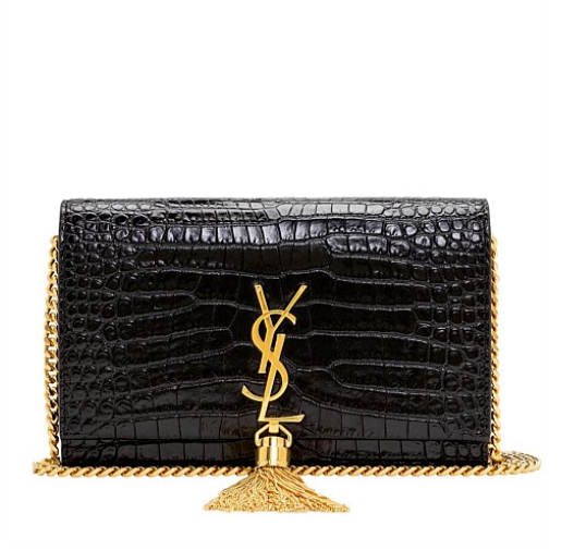 Saint Laurent Small Kate Croc Embossed Tassel Chain Wallet