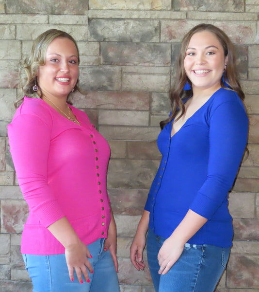 Solid Reputation Cardigan Hot Pink/Denim Blue~ Blue Country Boutique, LLC