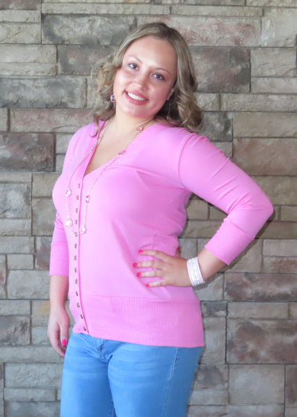Solid Reputation Cardigan Candy Pink~ Blue Country Boutique, LLC