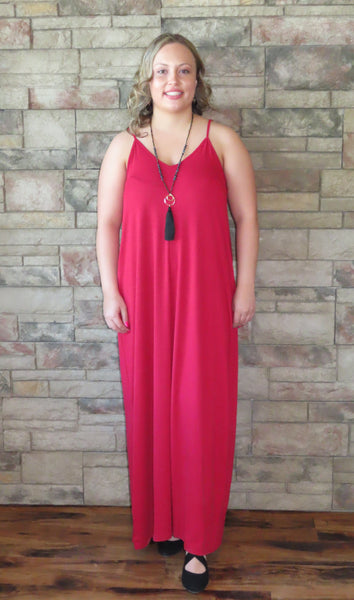 Nights On The Terrace Maxi Dress Dark Red~ Blue Country Boutique, LLC