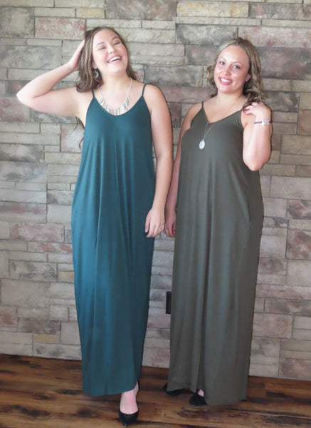 Nights On The Terrace Maxi Dress Hunter Green/Dark Olive~ Blue Country Boutique, LLC
