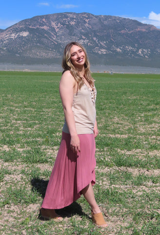 Simple Yet Elegant Maxi Skirt Dusty Rose ~ Blue Country Boutique, LLC