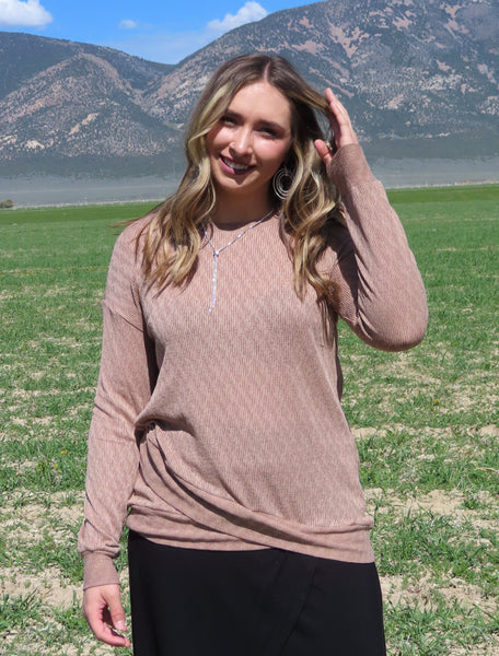 Lucky To Love You Mocha Sweater ~ Blue Country Boutique, LLC