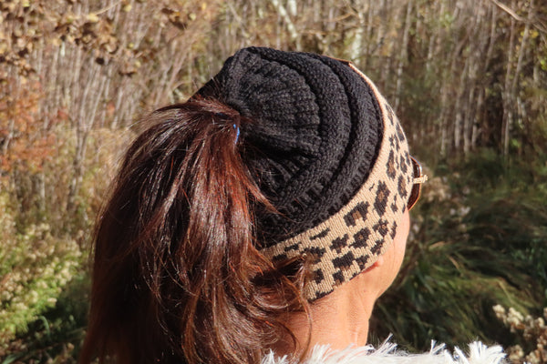 Let The Flurries Fall Leopard Trim Beanie