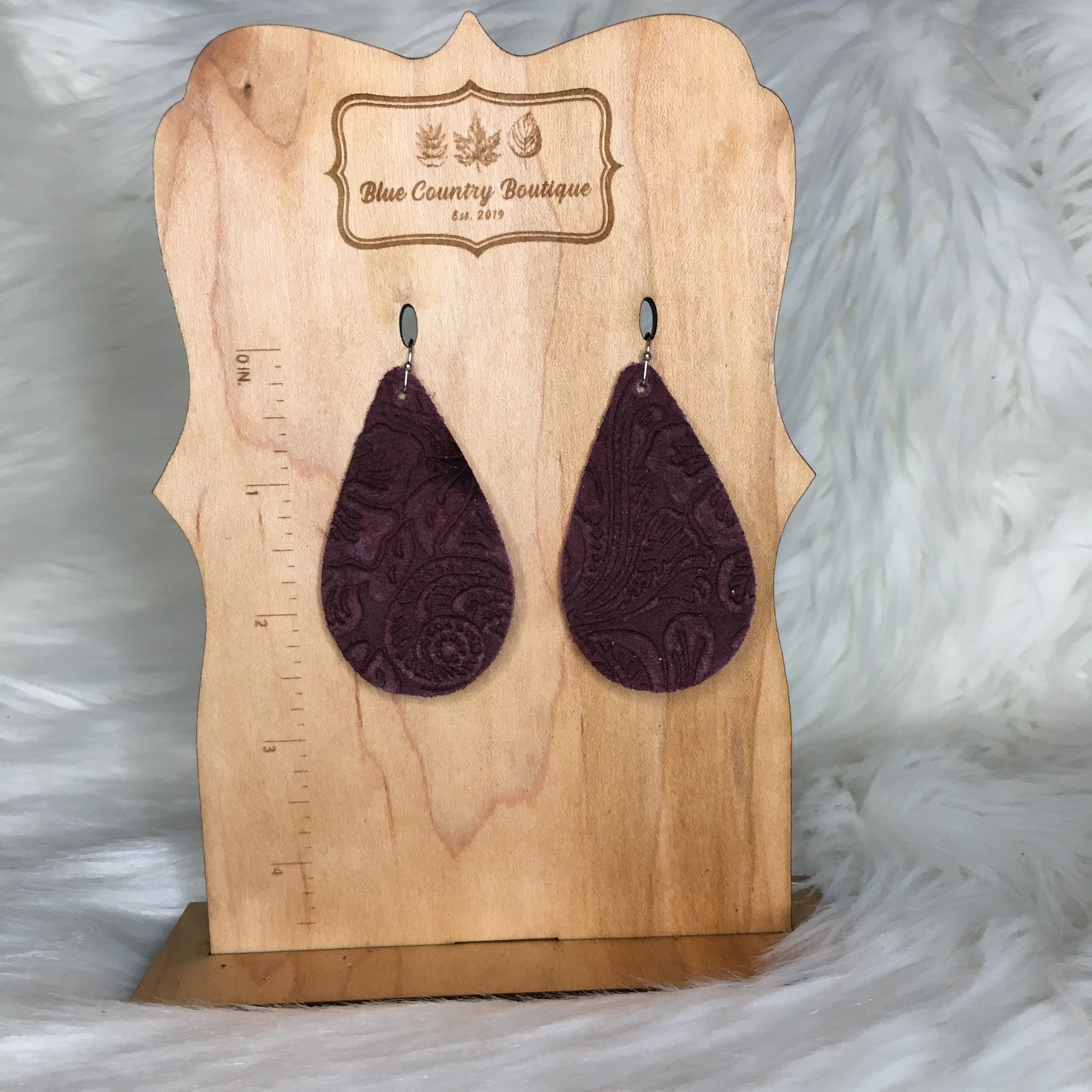 Teardrop Western Burgundy Genuine Leather Earring