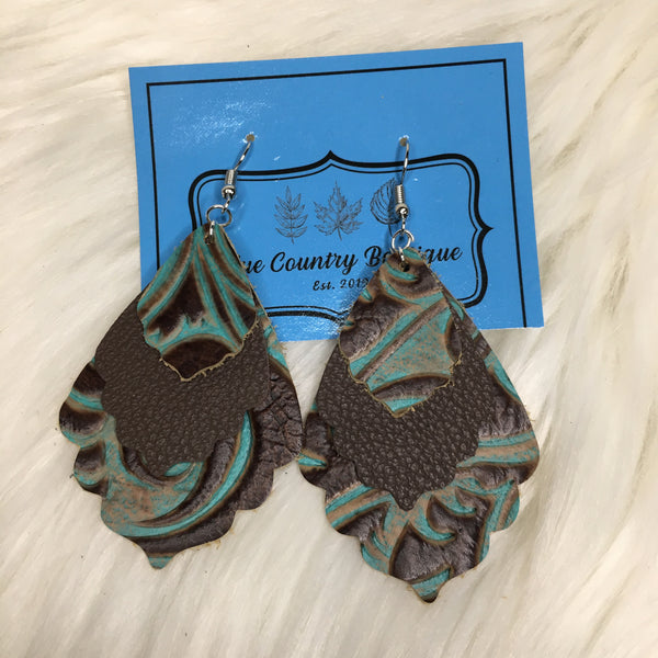 Western Scalloped Genuine Leather Earring