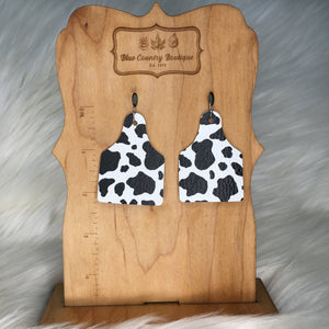 Cow Tag  Genuine Leather Earring