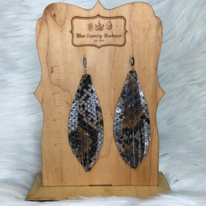 Snake Fringe Genuine Leather Earring