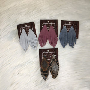 Dazzle Fringe Genuine Leather Earring