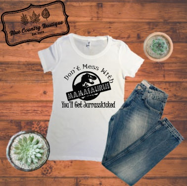 Mamasaurus T-shirt-Blue Country Boutique