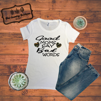 Good Moms Say Bad Words Camo Hearts-blue country boutique
