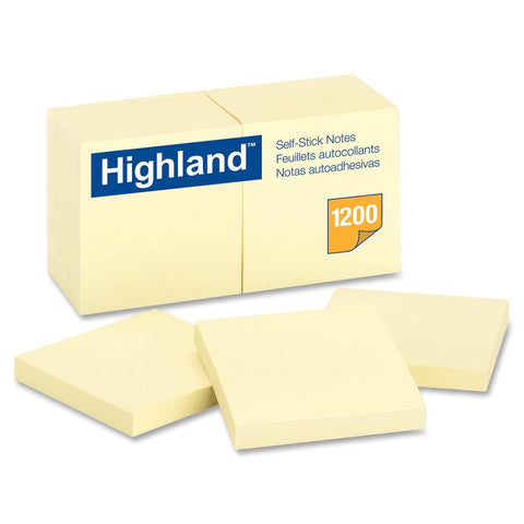 "3M Highland 3""x3"" Bright Yellow Self-stick Removable Note UM: 12/PK MMM6549YW"