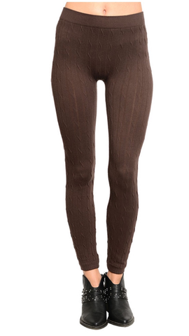 afd7ae1306fac2 Cable Knit Seamless Fleece Lined Leggings: Coffee Brown