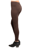 Cable Knit Seamless Fleece Lined Leggings: Coffee Brown
