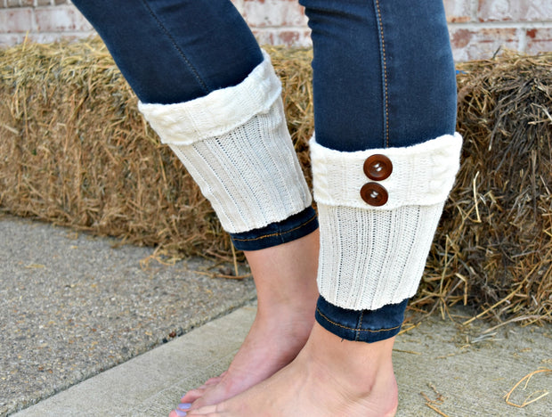 Cute As A Button Boot Cuffs: Ivory