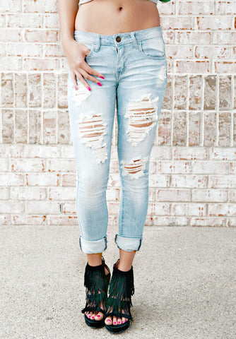 MACHINE Distressed Skinny Jeans: Ashley Wash