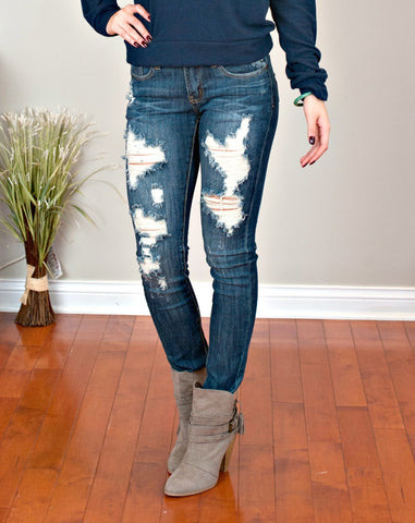 MACHINE Distressed Skinny Jeans: Madison Wash