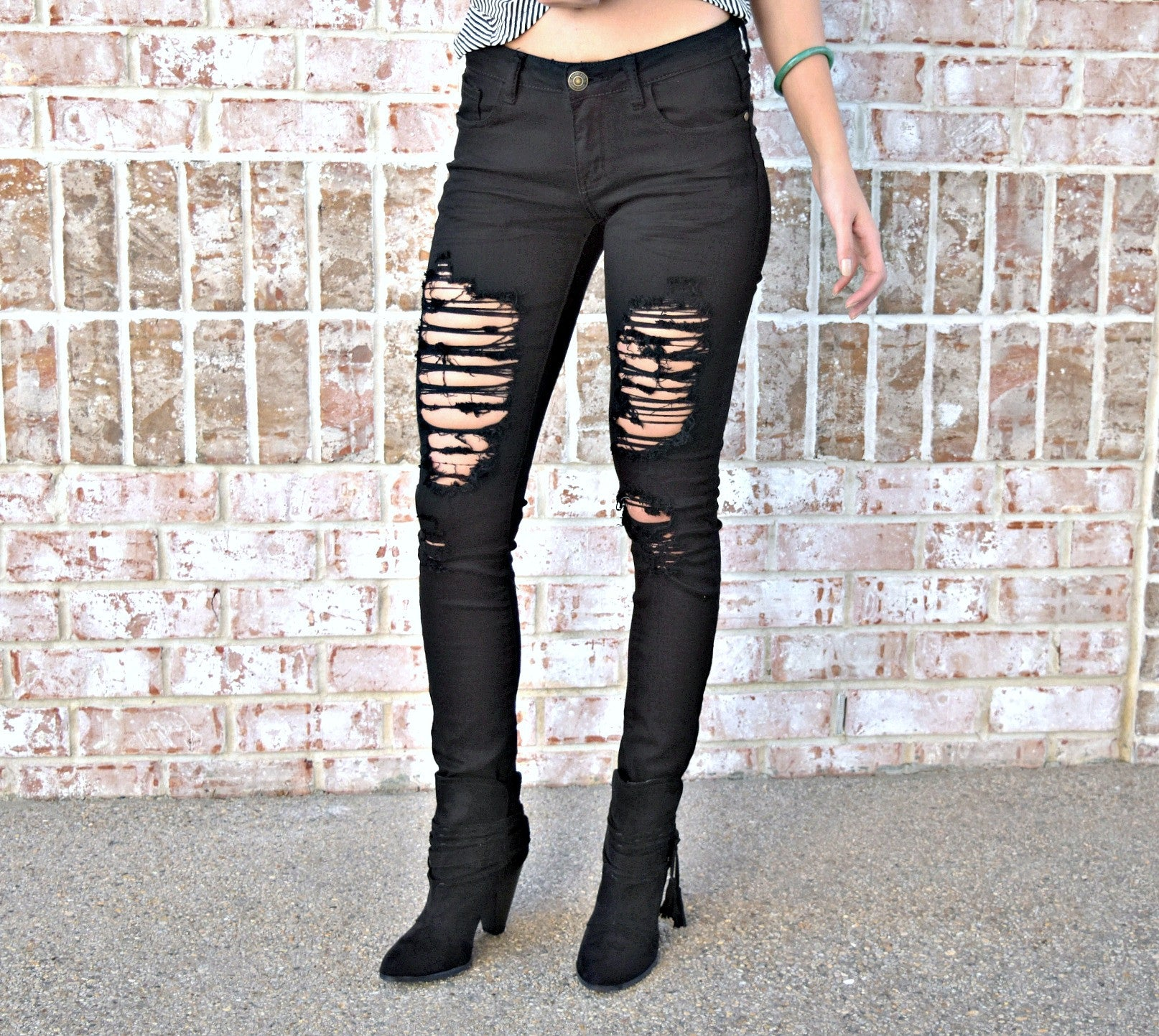 MACHINE Distressed Black Skinny Jeans