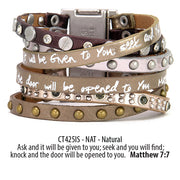 Come Together Scripture Leather Wrap Cuff Bracelets: Mineral