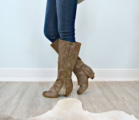 Southern Sass Lace Inlay Boots: Taupe