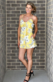Walking on Sunshine Floral Romper