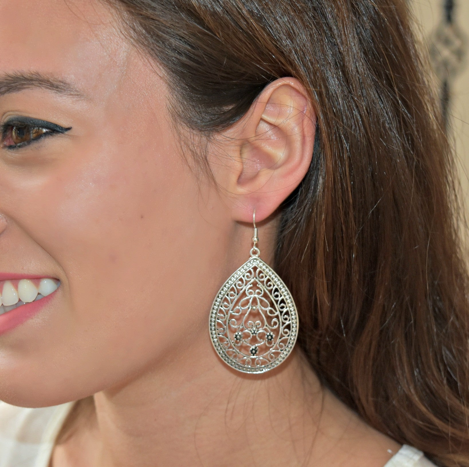 Teardrop Antique Silver Statement Earrings