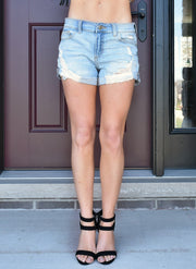 Maya Destroyed Denim Mid Rise Shorts