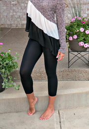 Seamless Basic Capri Leggings: Black