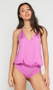 Underneath It All Satin Cami Bodysuit: Orchid