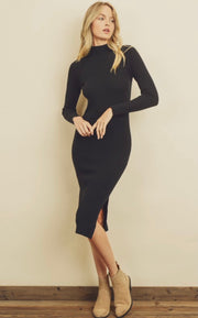 Best In Show Mock Neck Knit Midi Dress