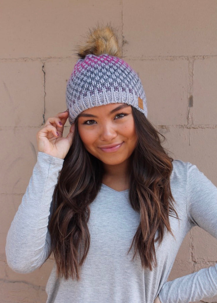 Cold As Ice Knit Fur Pom Beanie Hat: Pink/Navy