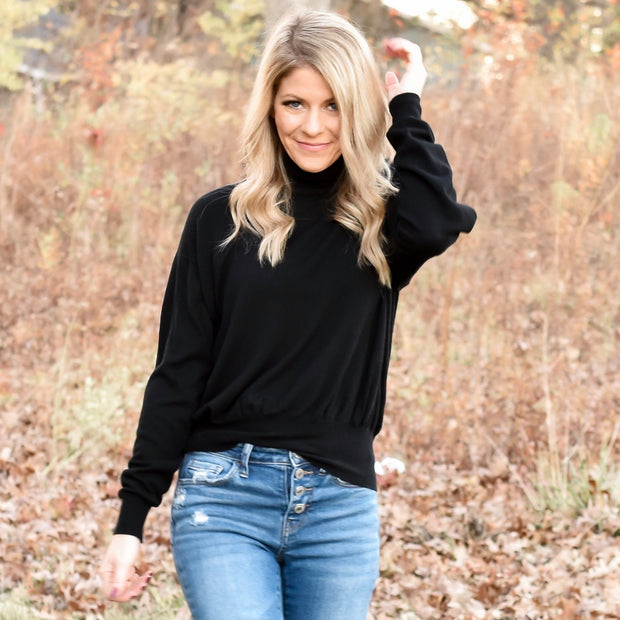 Work From Home Turtleneck Knit Sweater