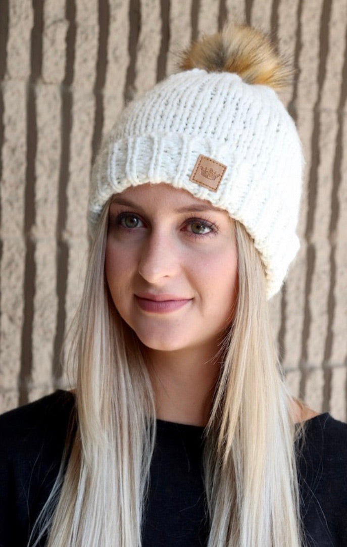 Chilly Nights Knit Fur Pom Beanie Hat: Ivory