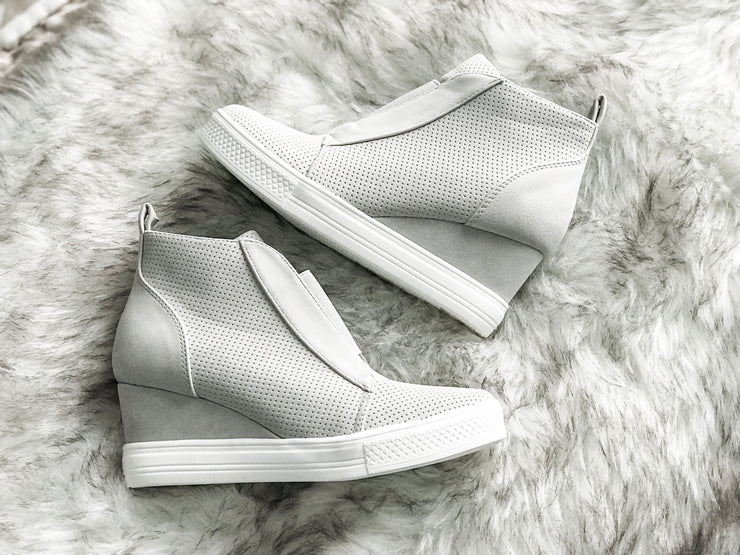 Walk In My Shoes Faux Suede Wedge Sneakers: Light Gray