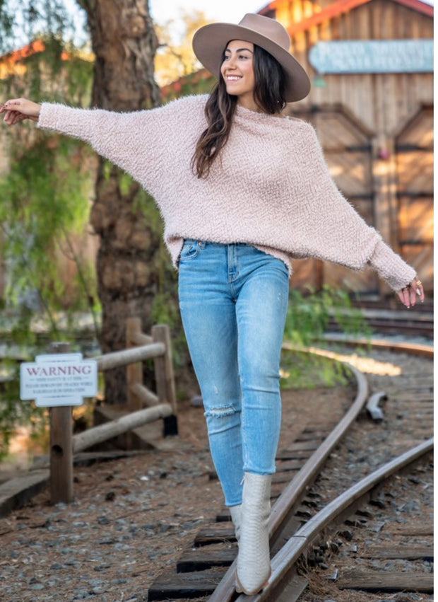Make Me Blush Popcorn Knit Dolman Sweater