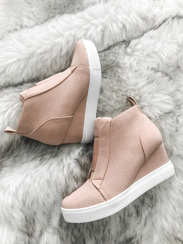 Walk In My Shoes Faux Suede Wedge Sneakers: Blush