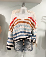 Reese Cable Knit Stripe Sweater: Blue Multi