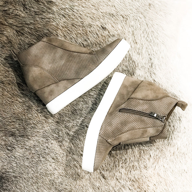 Walk In My Shoes Faux Suede Wedge Sneakers: Taupe