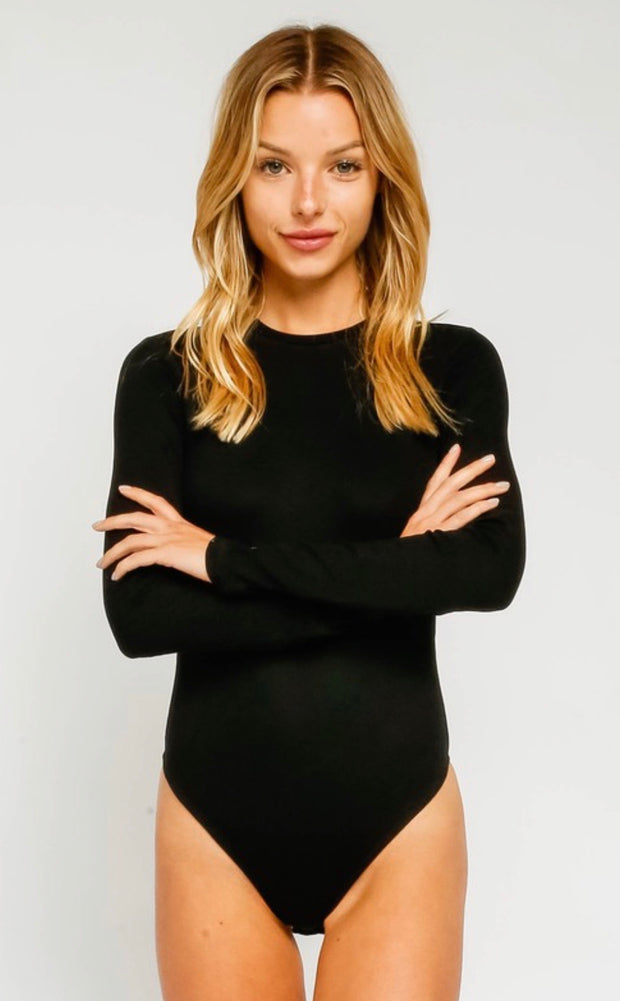 Day To Night Basic Crew Neck Bodysuit: Black