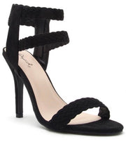 Walk This Way Faux Suede Heel: Black