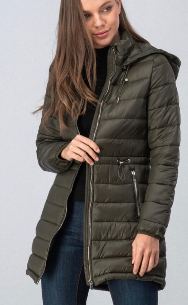 Winter Nights Packable Puffer Jacket: Olive