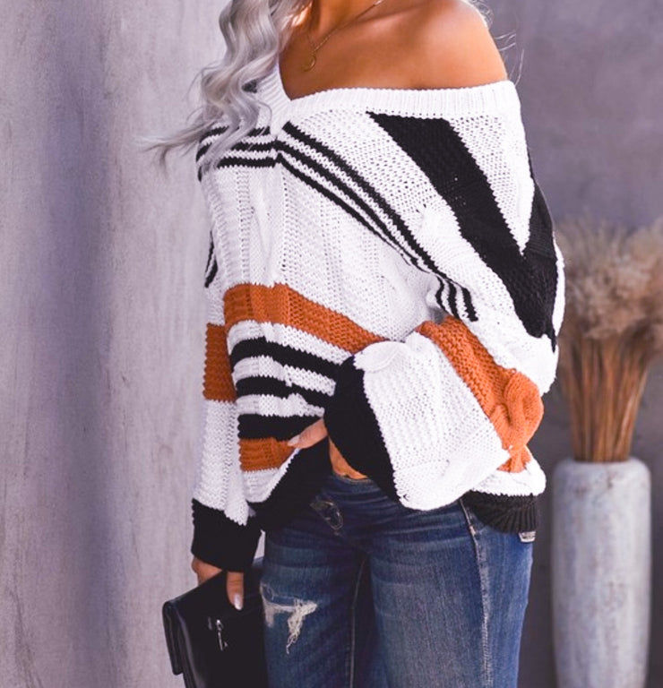 Reese Cable Knit Stripe Sweater: Black/Orange