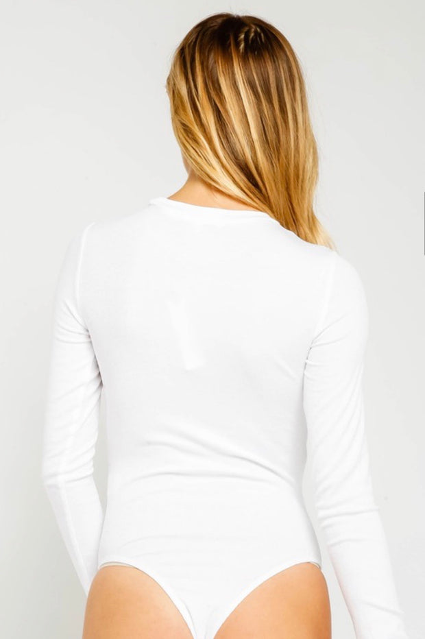 Day To Night Basic Crew Neck Bodysuit: White