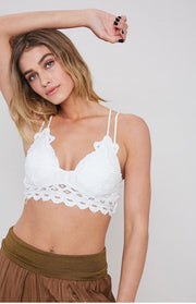 Stuck On You Scalloped Lace Bralette: White