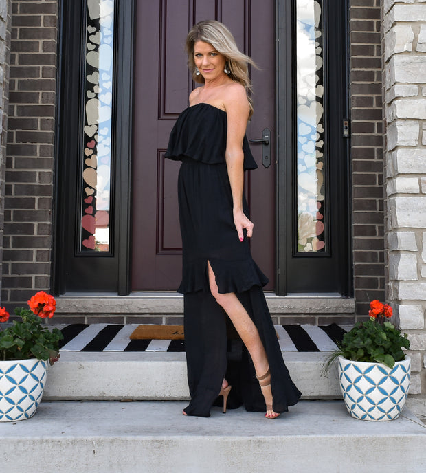 Havana Nights Maxi Dress: Black