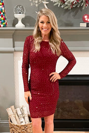 The After Party Sequin Dress: Cranberry