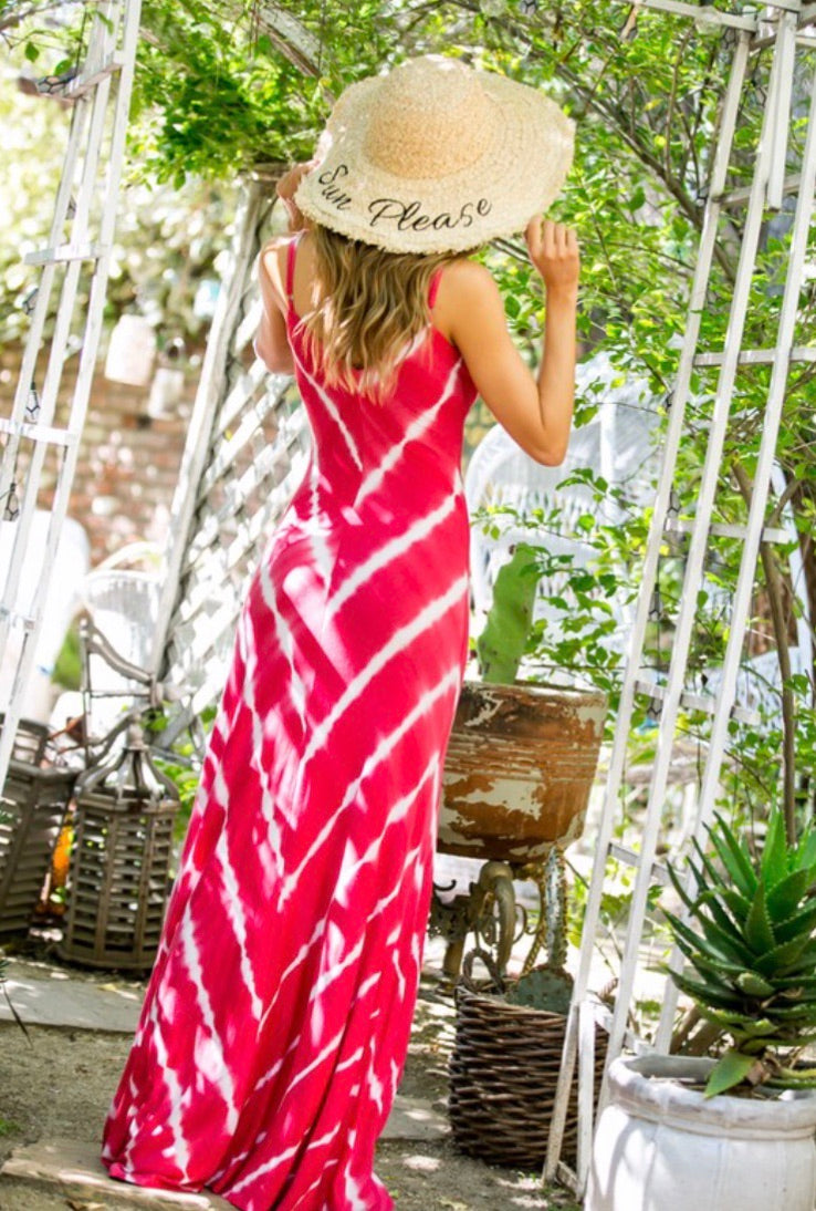 On Island Time Tie Dye Maxi Dress: Coral Red