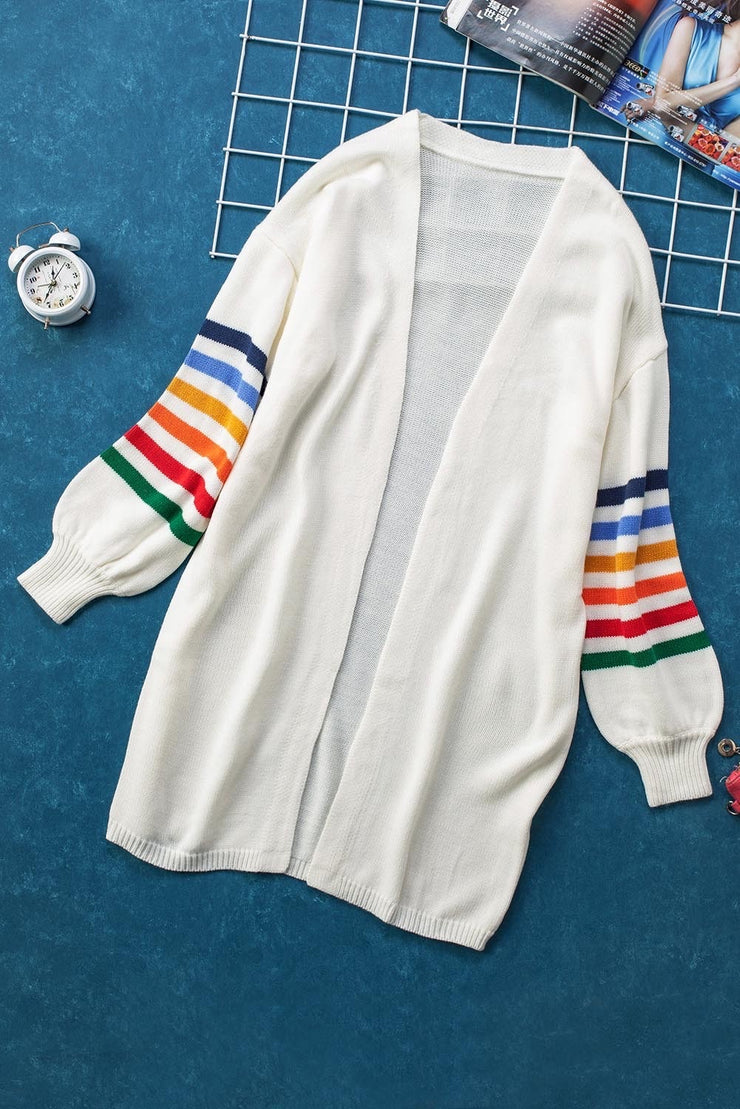 Go Your Own Way Stripe Bubble Sleeve Cardigan
