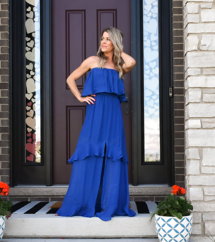 Havana Nights Maxi Dress: Blue